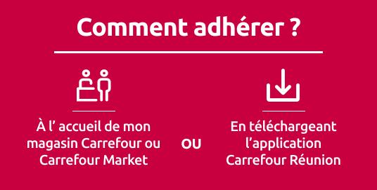 Comment adhérer ? A l'accueil de mon magasin Carrefour ou Carrefour Market ou en téléchargeant l'application Carrefour Réunion